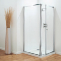 700mm Pivot  White/Plain Glass Shower Door